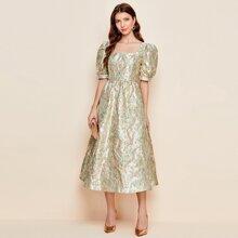 Jacquard Kleid mit Blumen Muster und Puffaermeln