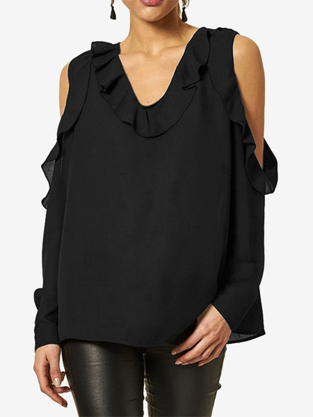 Yoins Black Plain Cold Shoulder Flounced Details V-neck & Long Sleeves Blouse