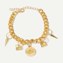 Round Charm Chain Bracelet 1pc