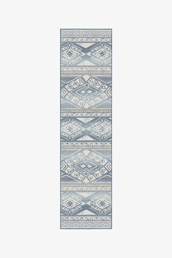 Washable Rug Cover | Suku Blue Rug | Stain-Resistant | Ruggable | 2.5'x10'