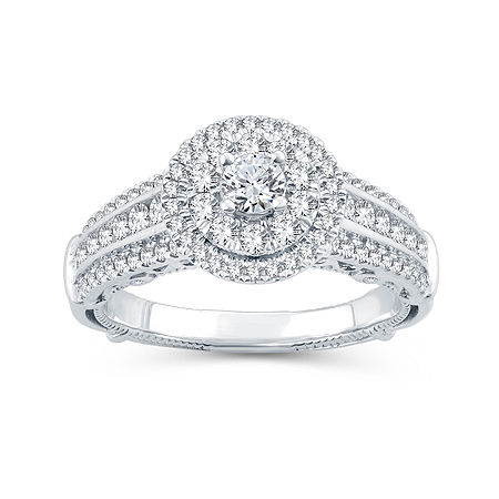 Womens 1 CT. T.W. Genuine Diamond 10K White Gold Engagement Ring, 6 , No Color Family