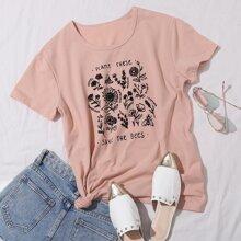 T-Shirt mit Pflanzen und Buchstaben Grafik