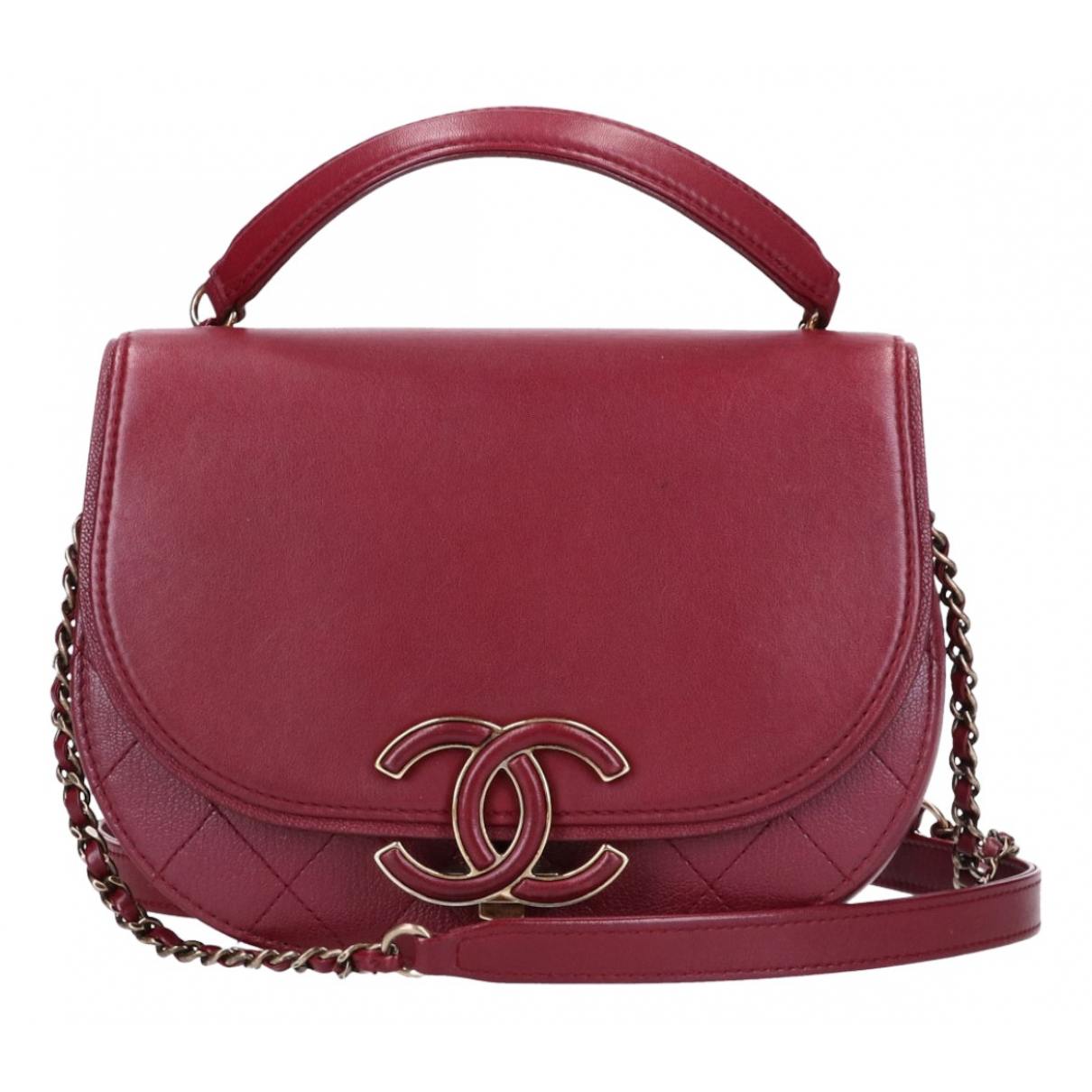 Chanel Coco Curve Handtasche in  Bordeauxrot Leder