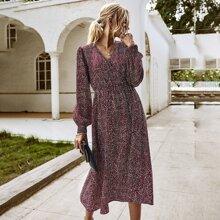 Bishop Sleeve Allover Print A-line Dress