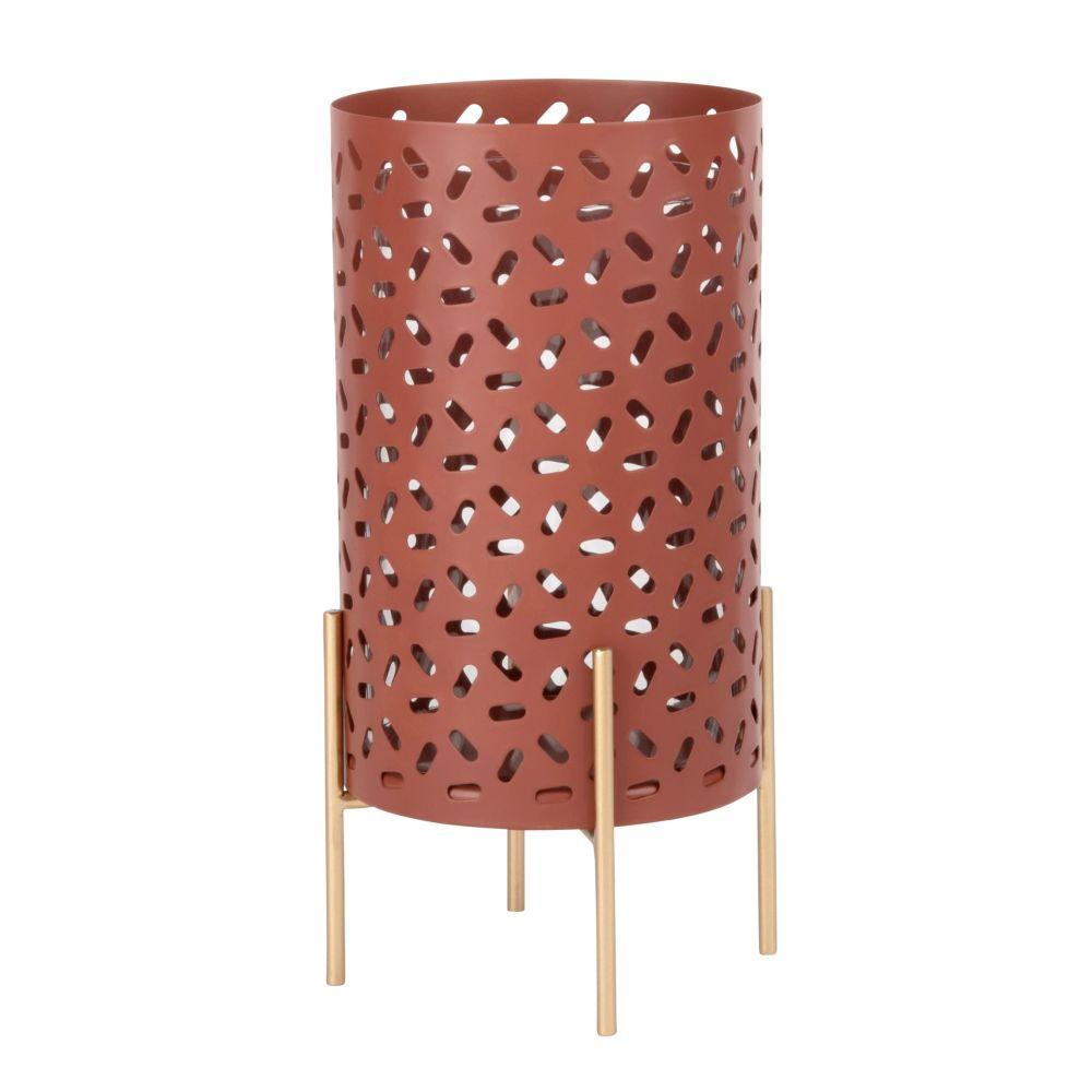 Kerzenhalter aus Metall, rot mit Lochmuster