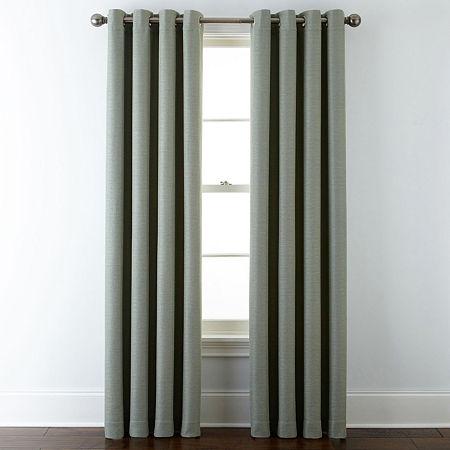 Liz Claiborne Quinn Basketweave Room-Darkening Grommet Top Single Curtain Panel, One Size , Green