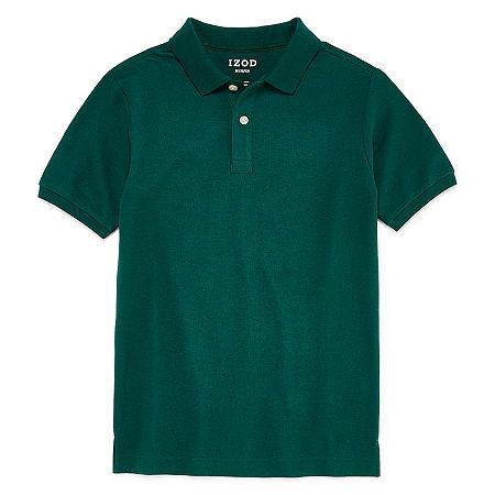 IZOD Pique Little & Big Boys Short Sleeve Stretch Polo Shirt, Large Husky , Green