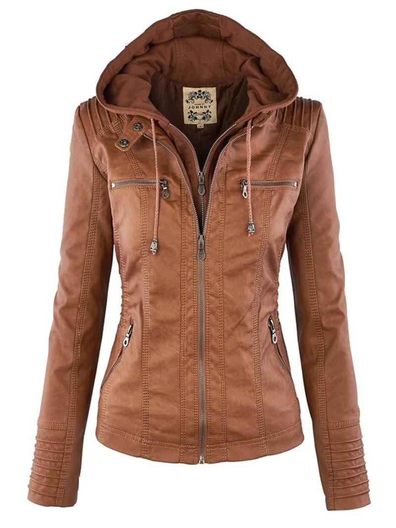Ericdress Plus-Size Slim Double-Layer Hooded Women's Jacket