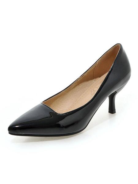 Milanoo Kitten Heel Pumps Black Pointed Toe Stiletto Heel Slip On Pumps Women Dress Shoes