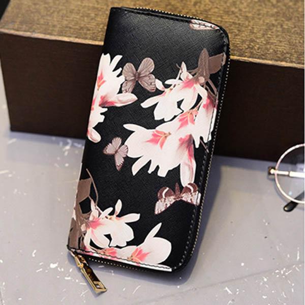 Women Flower Print Stylish Long Wallet Card Holders Purse