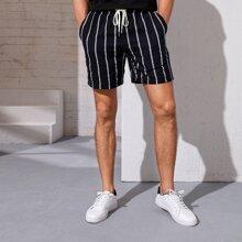 Shorts de hombres de rayas con bolsillo de cintura con cordon