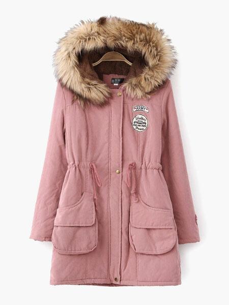 Milanoo Women Parkas Jacket Hoodie Shearling Coat Faux Fur Collar Military Jacket Winter Coats