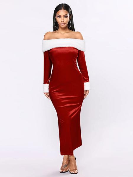 Milanoo Bodycon navideño para mujer, rojo, piel sintetica, mezcla de algodon, dos tonos, vacaciones navideñas, disfraces sexy