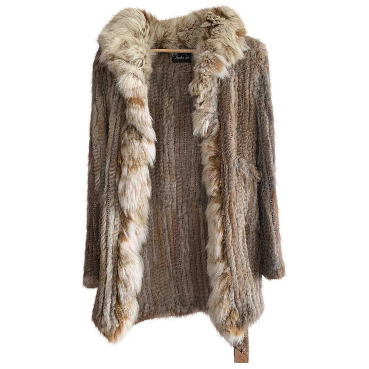 - Manteau   pour femme en renard - camel