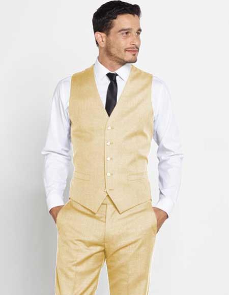 Mens Vest Matching Tan Dress Pants Set Color Shirt Tie Wool Regular