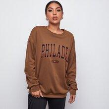 Drop Shoulder Letter Graphic Oversized Pullover