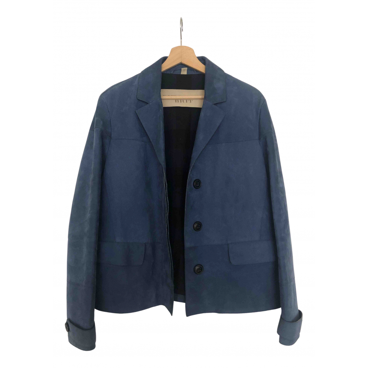 Burberry N Blue Leather jacket for Women 38 FR