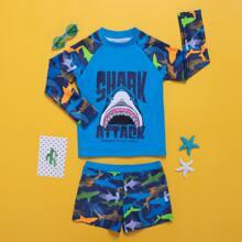 Boys Shark Print Swimsuit