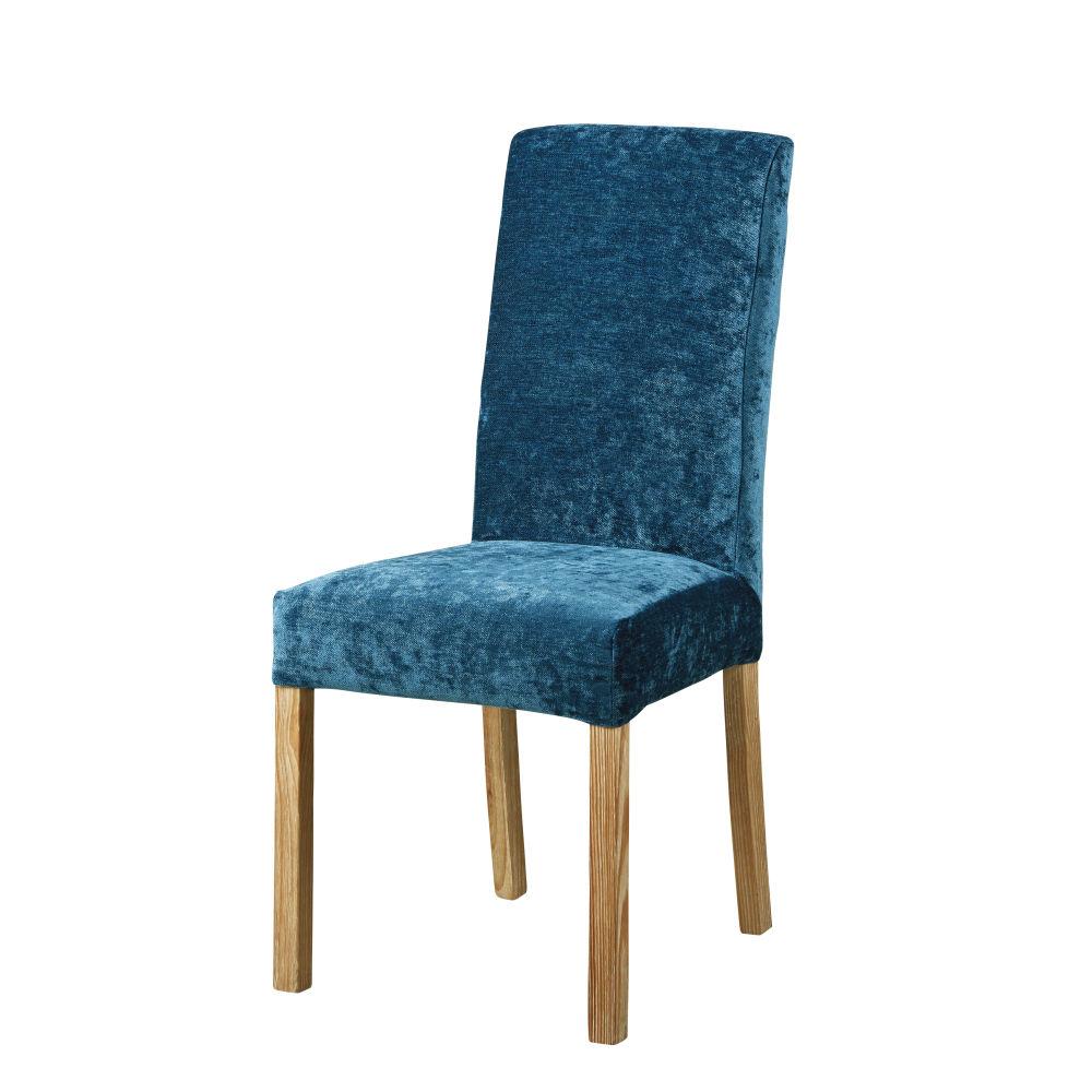 Stuhlbezug aus Samt, taubenblau