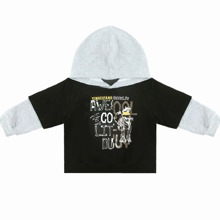 Toddler Boys Letter Graphic Contrast Sleeve Hoodie