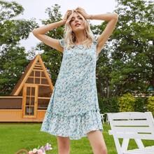 Kleid mit Rueschenbesatz, Raffungsaum und Bluemchen Muster