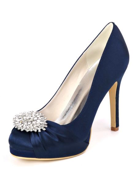 Milanoo High Heel Wedding Shoes Satin Ivory Paltform Round Toe Rhinestones Stiletto Heel 4.3 Bridal Shoes