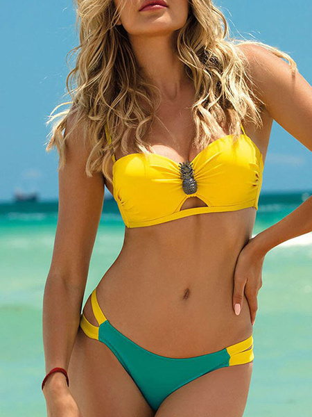 Milanoo Women Bikini Swimsuit Yellow Pleated Straps Neck Backless Low Rise Waist Summer Sexy Swimwear