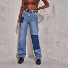 Jeans mit hoher Taille, Farbblock und geradem Beinschnitt ohne Guertel