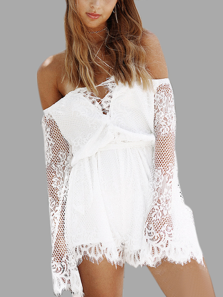 Yoins Off-The-Shoulder Delicate Lace Playsuit in White