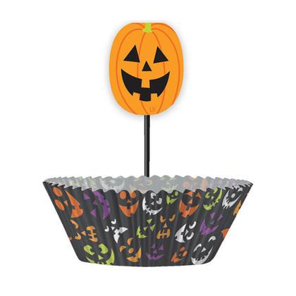 Pumpkin Faces Halloween Cupcake Decoration Wrappers Kit, 24 Pieces