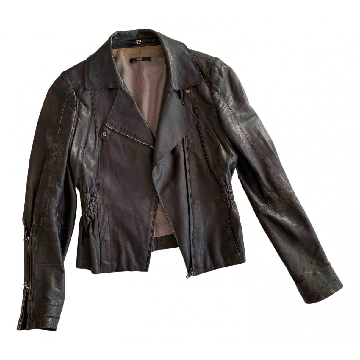 Boss - Veste   pour femme en cuir - noir