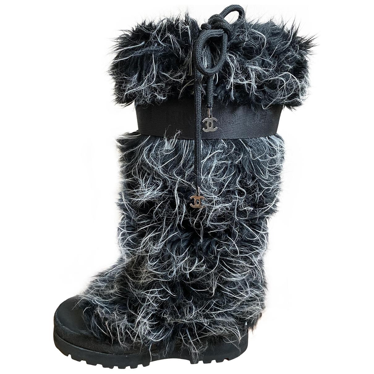 Chanel \N Black Faux fur Boots for Women 8 US