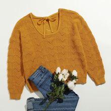 Plus Drop Shoulder Tie Front Sweater