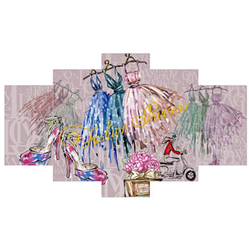 Dresses High-heel Shoes and Roses Hanging 5-Piece Canvas Waterproof Non-framed Wall Prints