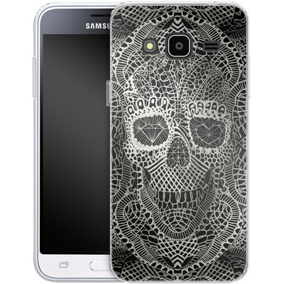 Samsung Galaxy J3 (2016) Silikon Handyhuelle - Lace Skull von Ali Gulec
