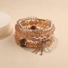 4pcs Crystal Decor Beaded Bracelet
