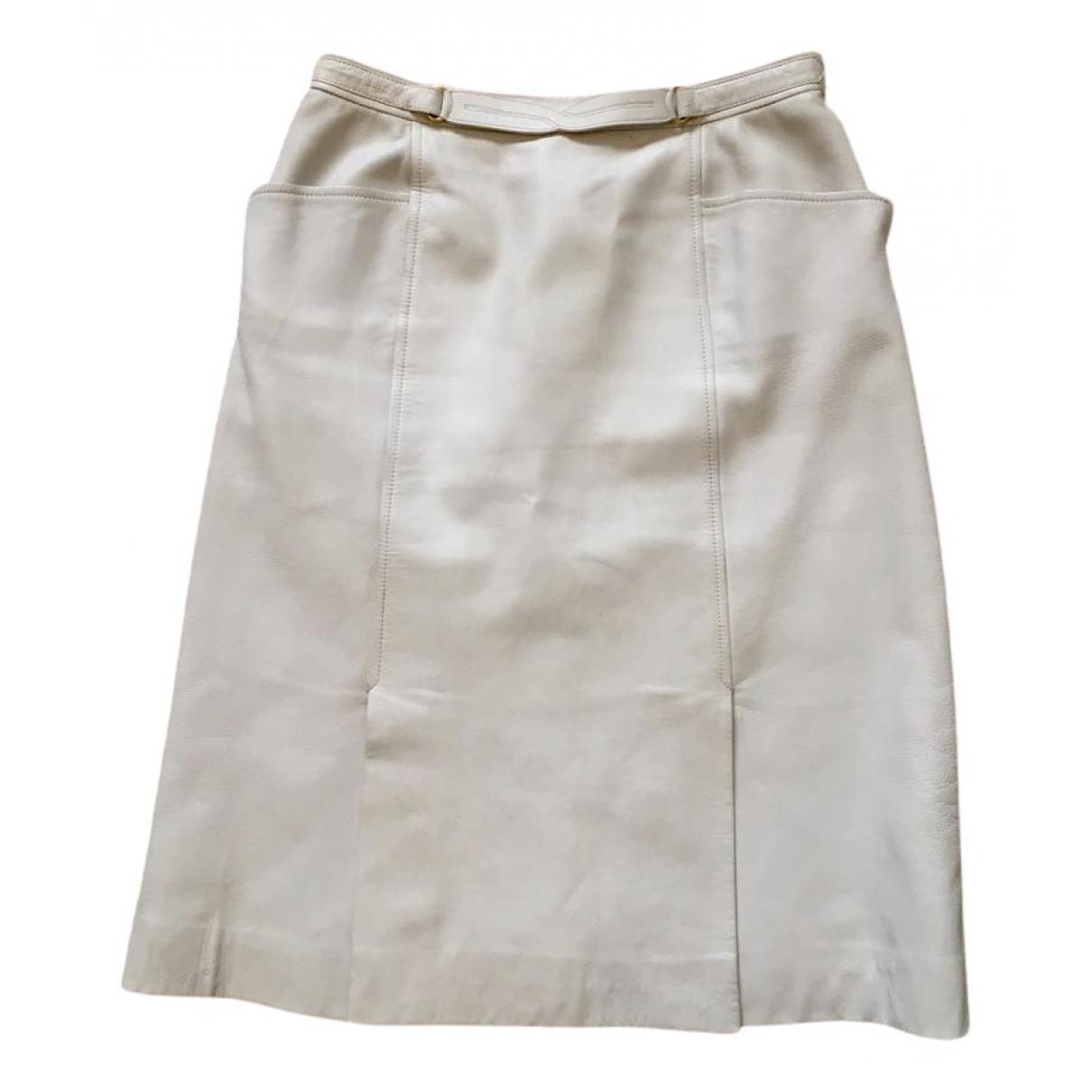 Hermes - Jupe   pour femme en cuir - blanc