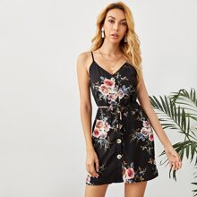 Single Breasted Self Belted Floral Print Slip Dress