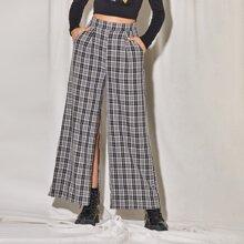 Pantalones de tartan de pierna ancha de muslo con abertura