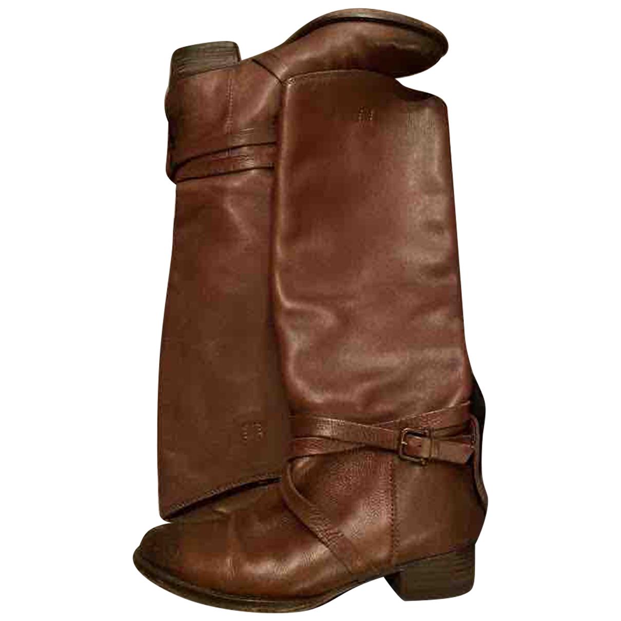 Massimo Dutti - Bottes   pour femme en cuir - marron