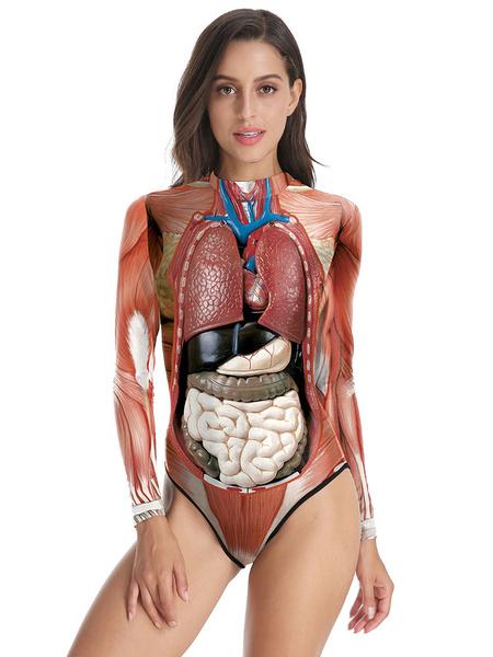 Milanoo Women\'s Carnival Costumes Mahogany Stretch Polyester Skinny Bodysuits