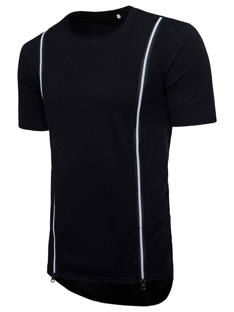 Ericdress Zipper Round Neck Plain Slim Mens T-shirt