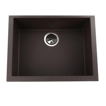 Plymouth Collection PR2418-BR 23 Single Bowl Undermount Kitchen Sink with Italian Designed  Non-Porous Surface  Rectangle Shape  Stain Resistant