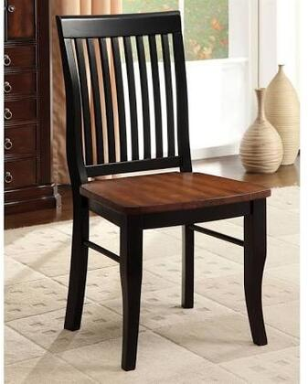 Earlham Collection CM3101SC-2PK Set of 2 Side Chair with Wide Wooden Seat and Slat Back in Antique Oak and Black