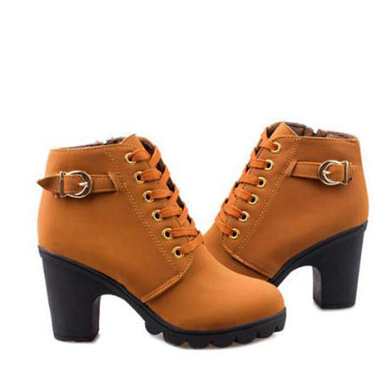 Ericdress Plain Chunky Heel Lace-Up Front Women's Ankle Boots
