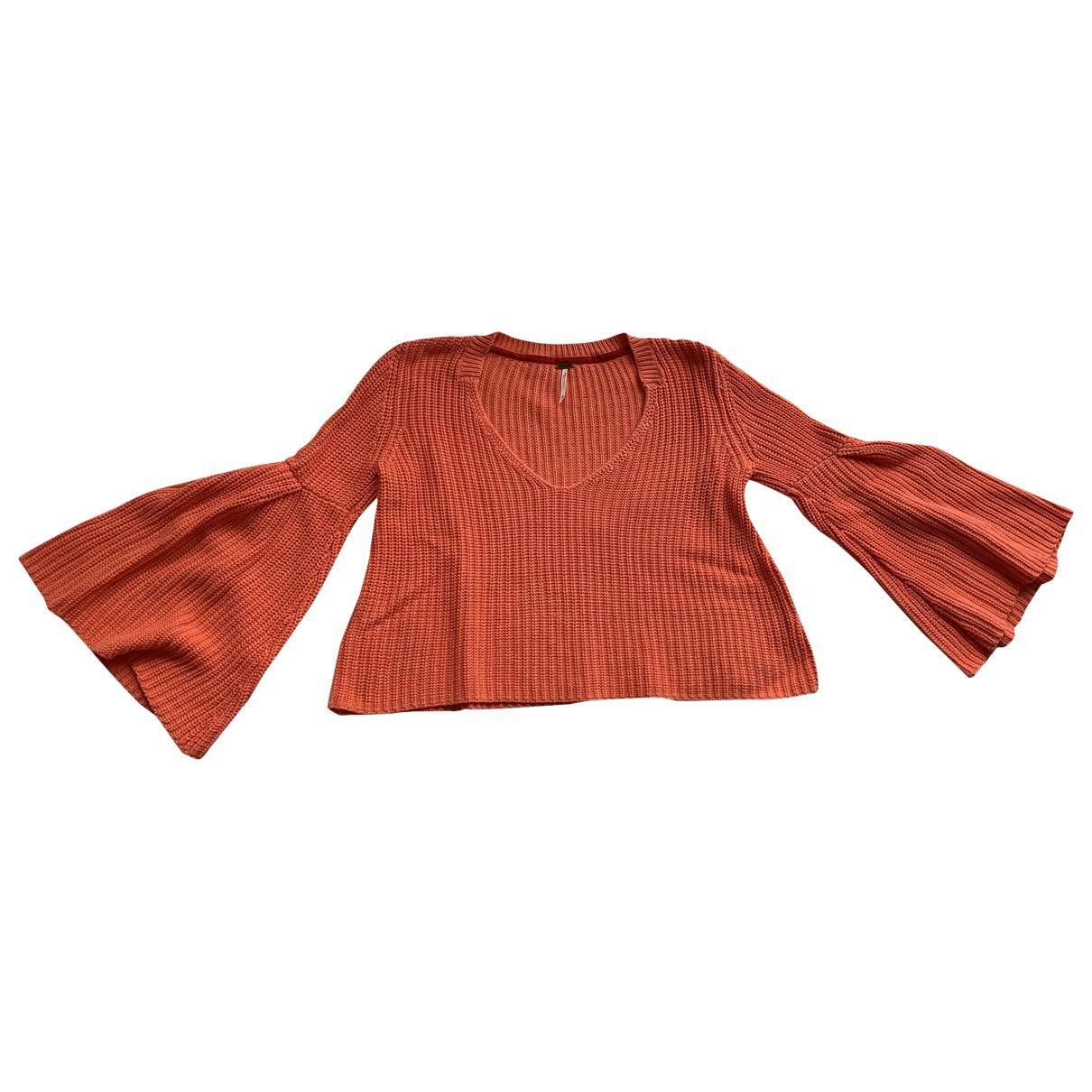 Free People - Pull   pour femme en coton - orange