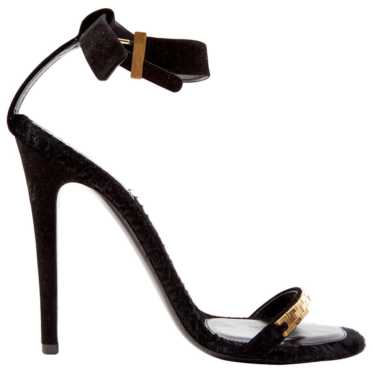 Celine \N Black Mongolian Lamb Sandals for Women 39.5 EU
