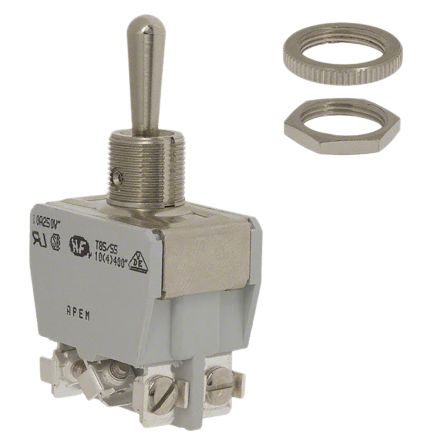 APEM DPDT Toggle Switch, On-(On), Panel Mount