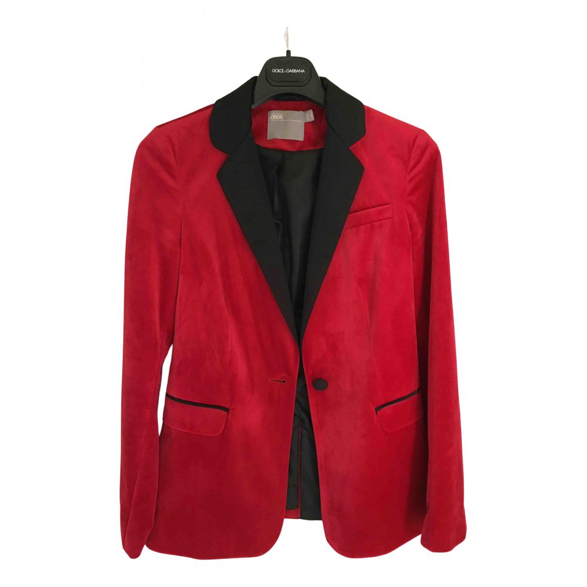 Asos - Veste   pour femme en velours - rouge