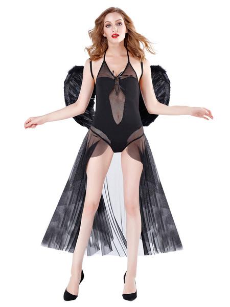 Milanoo Vestido de mujer sexy disfraz de angel negro con alas Halloween
